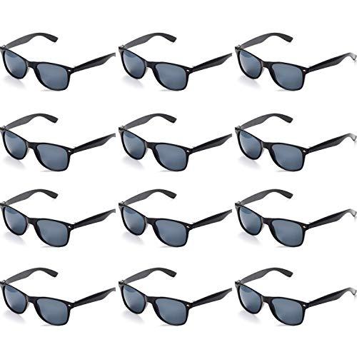 OAONNEA 12 Pares Aos 80 Neon Gafas de Sol de Colores Fiesta Adulto Nios(12negro)