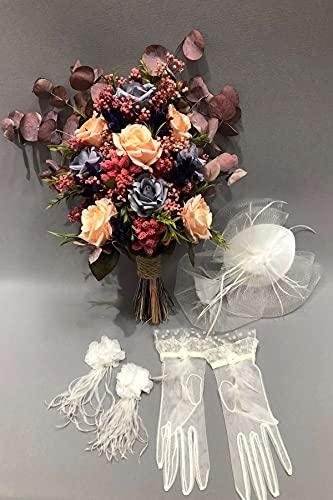 Hayalperest Lachs farbige trockene Blume und künstliche Blume Braut Strauß Braut, Hochzeit, Brautstrauß, Brautblume, Hand Blume, Zeremonie, Blume