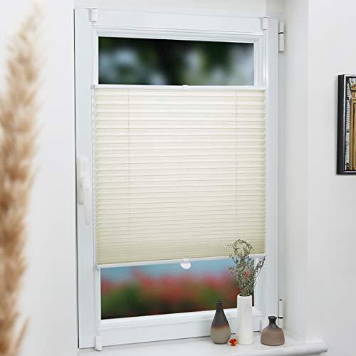 Grandekor Pliseerollo Jalousie für Fenster ohne Bohren 90x130cm (BxH) Beige, Plissee Klemmfix Blickdicht Sichtschutz & Sonnenschutz, Fensterrollo Faltrollo mit Kinderleichte Montage