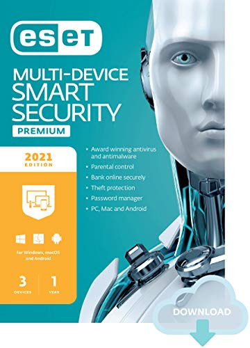 ESET Multi-Device Internet Security Premium | 2021 Edition | 3 Devices | 1 Year | Antivirus Software | Password Manager | Privacy Protection | Antispam | Anti-Theft | Digital Download [PC/Mac/Android/Linux Online Code]