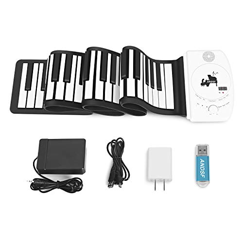 Portable 88 Keys Roll Up Piano - ANDSF Upgrade Version Flexible Eelectronic Piano with intelligent processing chips MP3 Stereo Speaker Built in Rechargeable Battery Suitable For Begainners and Kids