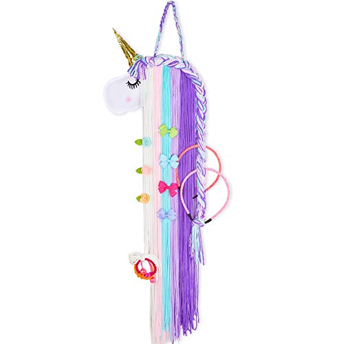Basumee Unicorn Hair Bow Holder for Girls Wall Hanging Decor and Baby Hair Clip Hanger Organizer, Cyan Lavender Unicorn