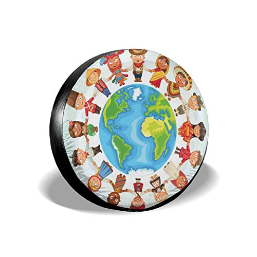 Drew Tours Reifenabdeckung Reifenabdeckung Radkappen, Planet Erde umgeben von Kindern in Trachten Kostüm Kulturelle Vielfalt Ethnizität, für SUV Truck 15inch