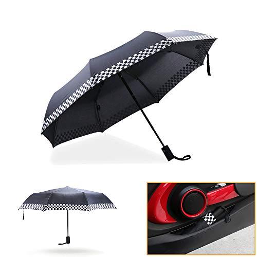QIDIAN Mini Compact Umbrella Faltbarer Compact Travel Umbrella Winddichter vollautomatischer Druckknopf Brolly Rain Winter für Mini Cooper