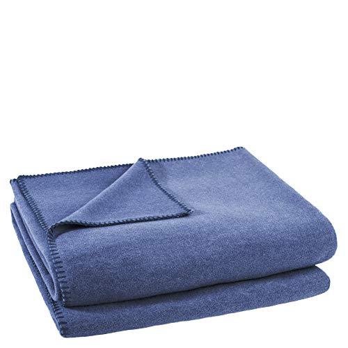 zoeppritz since 1828 Soft-Fleece, Polarfleece-Decke mit Häkelstich, Flauschige Kuscheldecke, Polyester/Viskose, 540 indigo, 160 x 200 cm