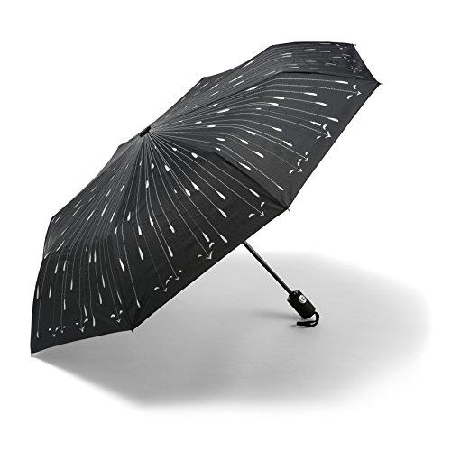 Regenschirm – Bester Automatisch Öffnender Regenschirm – GELD-ZURÜCK-GARANTIE – Automatisch öffnend/ schließend im Regentropfen-Design. Bester winddichter ReiseRegenschirm für Damen + Herren