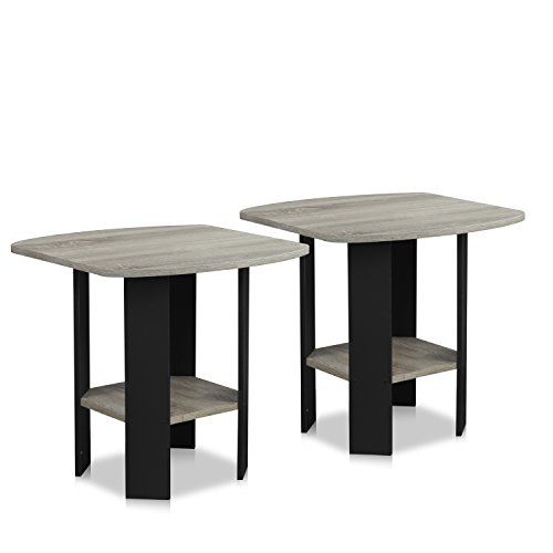 FURINNO Simple Design End Table, 2-Pack, French Oak...