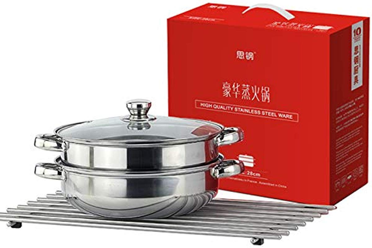 28 CM Stainless Steel 2 Tier Steamer Pot Steaming Cookware Stainless Steel Stockpot With Lid