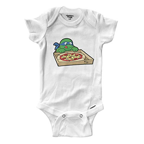 Hungry Turtles Leonardo Pizza Infant Baby Boy Girl Clothes Onesies Bodysuits Great Gift Cute Ninja (0-3 Months) White