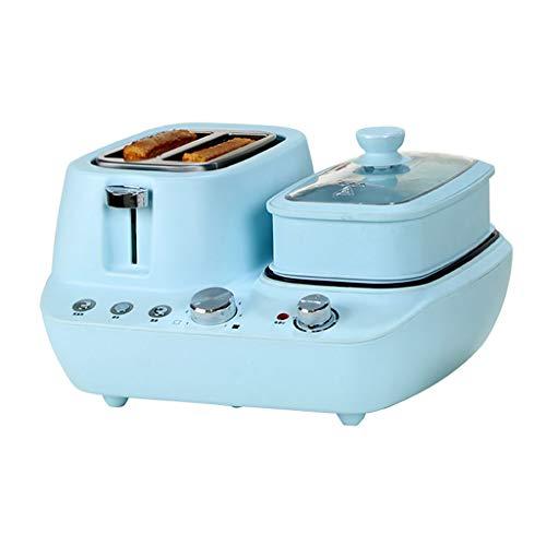 MISLD Mini Toaster Frühstücksstation Eierbratpfanne Antihaft-Topf Multifunktionsofen Kochen/Backen/Braten/Braten/Dämpfen 7 Gang 15 Minuten Timing Für Arbeiter Baby Mutter,Blau
