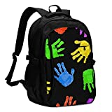 asfg Resistente a Las Manchas Dark Bright Colored Hand Multifunctional Personalized Customized USB Backpack, Student School Outdoor Backpack,Travel Bag Laptop Bookbags Business Daypack.