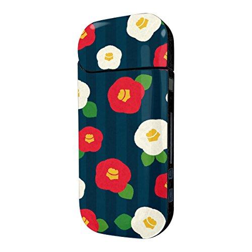 Biijo アイコス シール iQOS シール 表裏 側面 両面 全面対応 ボタンシール付き 椿 花柄 かわいい (E.紺)