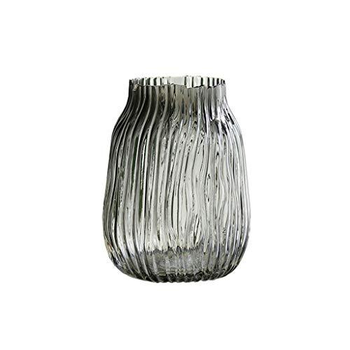 XIAOSAKU jarrón de Escritorio Humo Gris Transparente jarrón de Vidrio casero Sala de Estar Comedor decoración hidropónico Simple florero pequeño Escritorio decoración (Size : C)