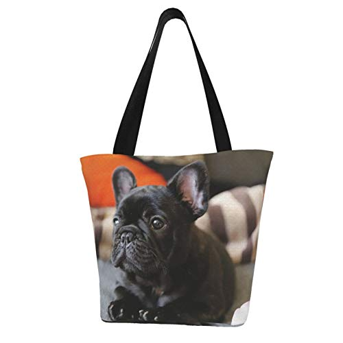 antcreptson French Bulldog Extra Large Canvas Shoulder Tote Top Handle Bag for Gym Beach Travel Shopping