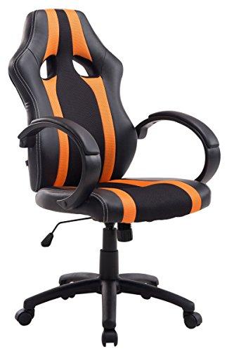 CLP, sedia da ufficio girevole modello 'Vettel' con rivestimento in ecopelle, meccanismo di inclinazione e altezza regolabile black/orange