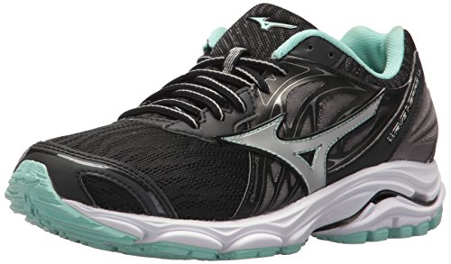 Mizuno Women's Wave Inspire 14 Running Shoe, Black/Silver, 6 B US
