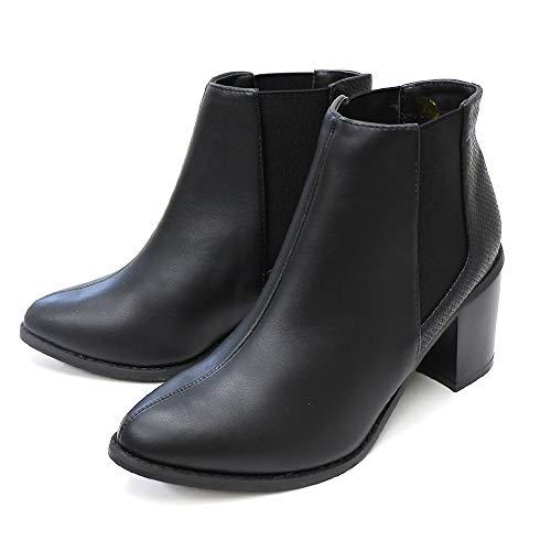 [アミアミ] サイドゴア 太 ヒール ショート ブーツ レディース (M, ブラック(スムース)/型押しSH500)