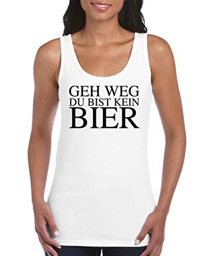 Comedy Shirts - GEH Weg du bist kein Bier - Damen Tank Top - Weiss/Schwarz Gr. M
