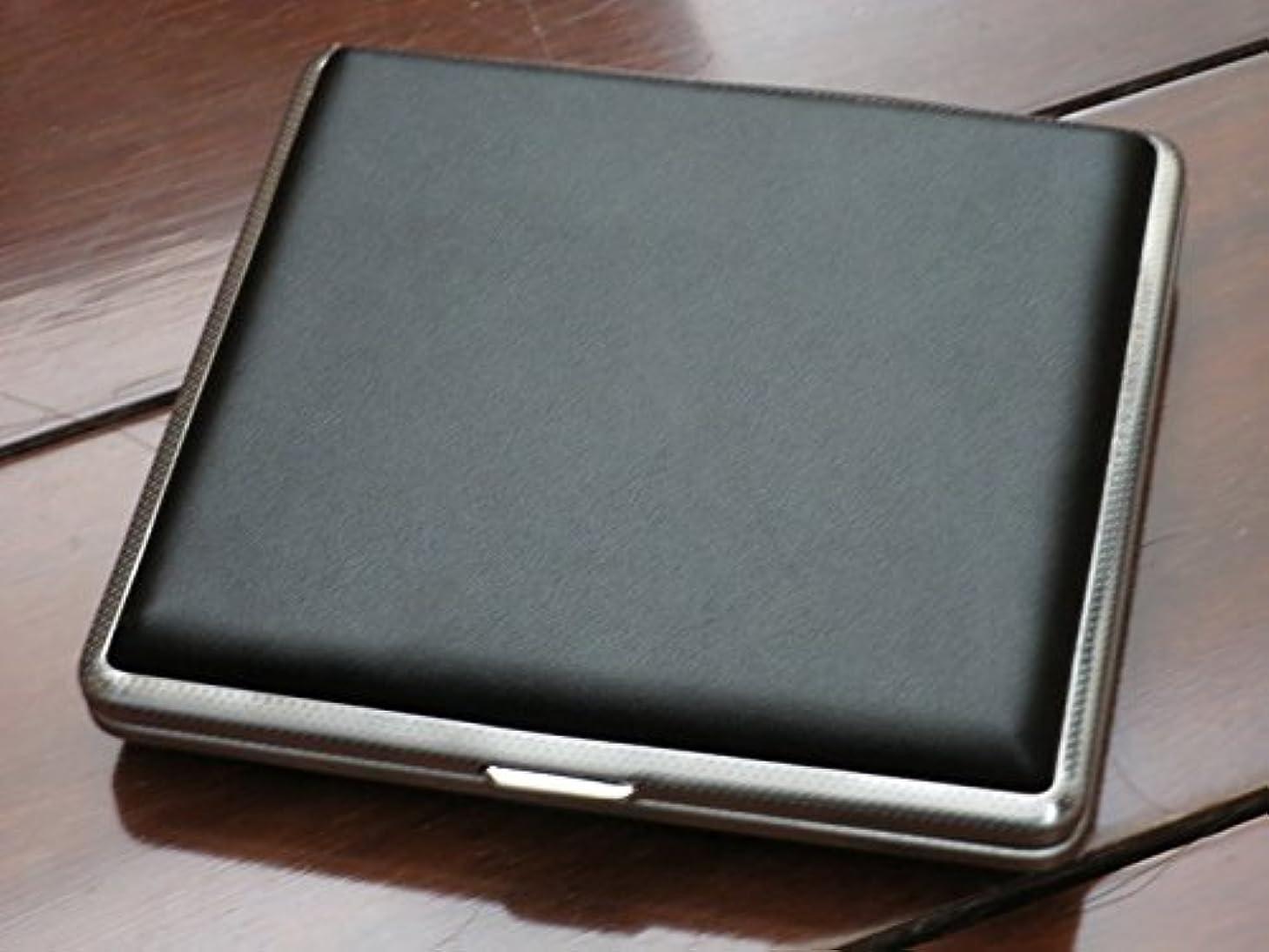 満州領収書ハリウッド高級 ブラック 皮革 タバコケース 収納 20本入り シガレット シガレットケース