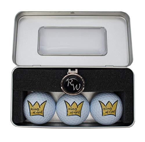RoLoGOLF Golfgeschenk-Box: 3 Bälle King of Golf und Cap-Clip mit personalisiertem Golfball-Marker