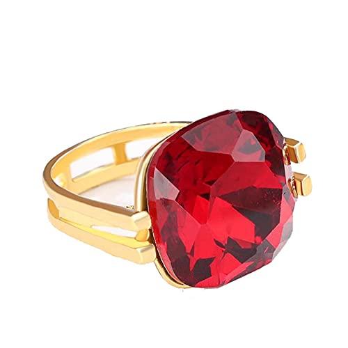 Anillos de boda de piedra de ópalo azul cuadrado de moda para mujer, anillo de circonita CZ de Color dorado para mujer, joyería Vintage OL, 7 rojo