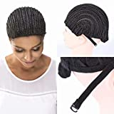 FEEL ME Cornrow Wig Cap Synthetic Braided Cap with Adjustable Straps Breathable Crochet Wig Caps with Combs for Braiding Hair Sew in Hair Weave Braided Wig Cap for Women