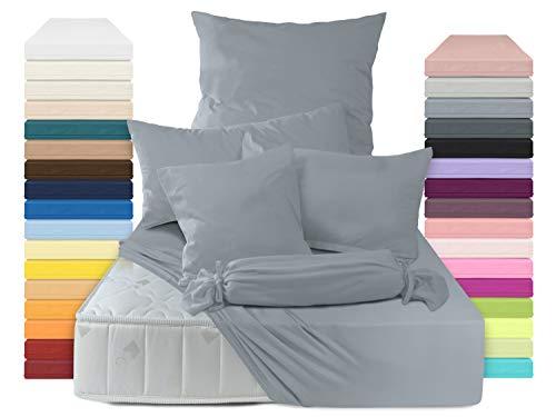 schlafgut 2er Pack Mako-Jersey 15001 Spannbettlaken oder 15101 Kissenbezug 315.346, Graphit, Spannbetttuch 90-100 x 200 cm