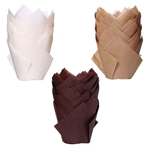 150 Stück Tulpe Cupcake Liner, Backförmchen aus Papier Tulpen-Backförmchen für Hochzeiten, Geburtstage, Partyzubehör(Braun, Natürlich und Weiß)
