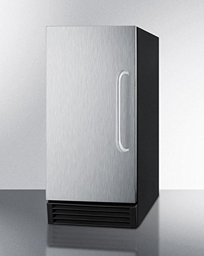 """Summit BIM44G 14.5"""" Commercial Ice Maker with Energy Star Automatic Defrost Reversible Door 25 lbs. Storage Capacity 50 lbs. Daily Production Internal Pump and Clear Ice Cubes: Stainless"""