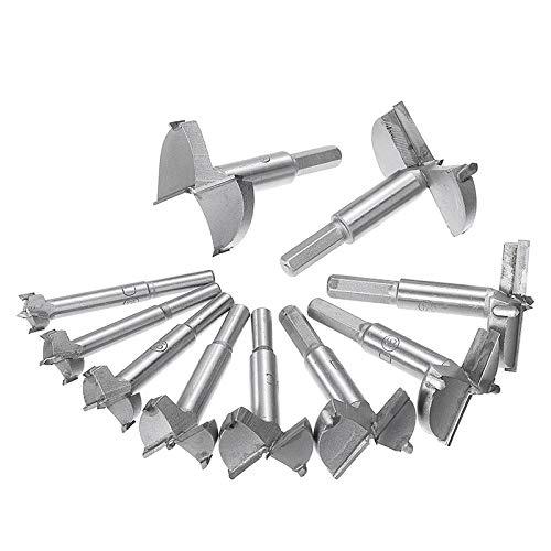 WY-YAN 10Pcs Forstner Drill Bit Self Centering Hole Saw Cutter Woodworking Tools Set 15/20/25/30/35/40/45/50/55/60mm Hinge Forstner Bit