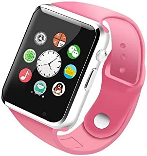 MAKECELL Pink Bluetooth Smartwatch Compatible with All 3G, 4G Phone with Camera and Sim Card Support A1 for Men boy Kids Girls and Women