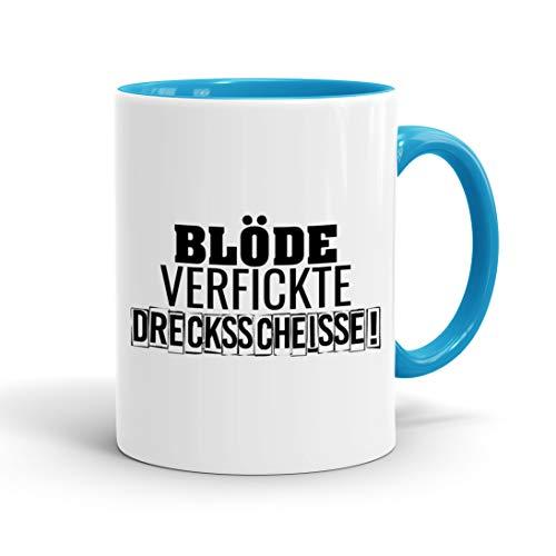 True Statements Tasse Blöde verfickte Drecksscheisse - Kaffee-Tasse mit Spruch, Geschenk für Mitarbeiter - Chef - Arbeitskollege - Büro, Arbeit, inner lightblue