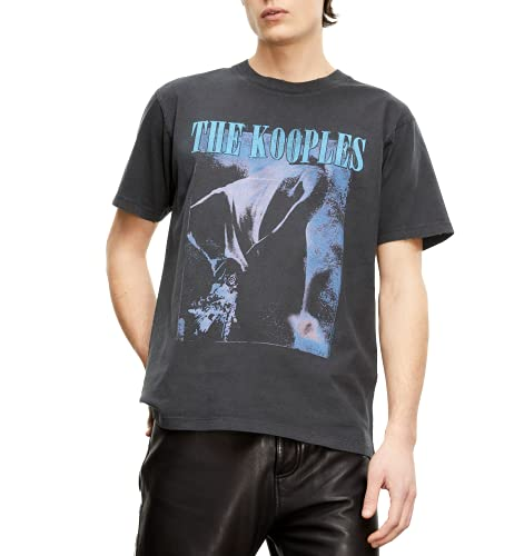 The Kooples Men's Vintage-Like Graphic T-Shirt with Printed Logo, Black, Medium
