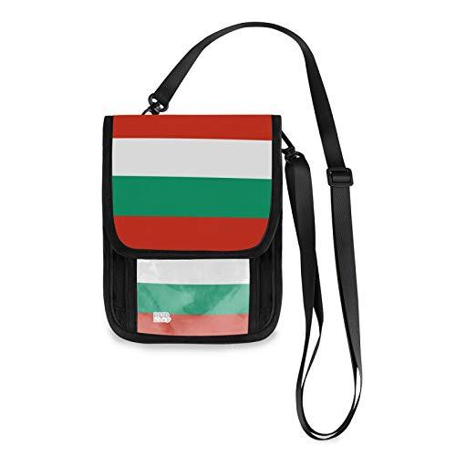 Bulgarien-Flagge, RFID-blockierend, kleine Umhängetasche, Handy-Geldbörse mit Kreditkartenfächern
