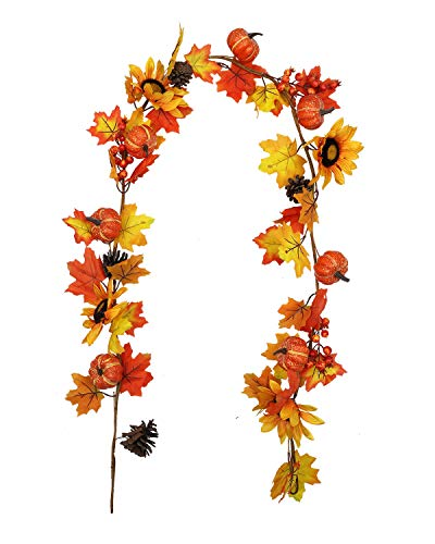 vensovo Fall Maple Leaf Garland - 6 Ft Autumn Artificial Berries Sunflower Pumpkin Leaves Garland Decorations, Thanksgiving Fake Leaf Decor for Party and Wedding Table Decoration…