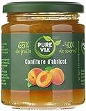 PURE VIA - Confiture d'Abricots 300g - Moins de Sucre, Plus de Goût - Origine Naturelle - 300g - Lot de 3