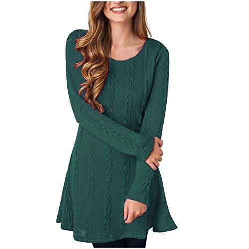 HWTOP Pullover Kleid Damen Elegant Enge Langarm Freizeitkleid Lose Strickkleid Sexy Sweater Kleider, Grün, L