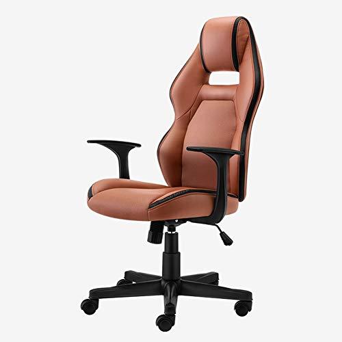 ADHKCF Bürostuhl aus Kunstleder, ergonomisch, hohe Rückenlehne, verstellbare Sitzhöhe, Neigungsspannung gelb