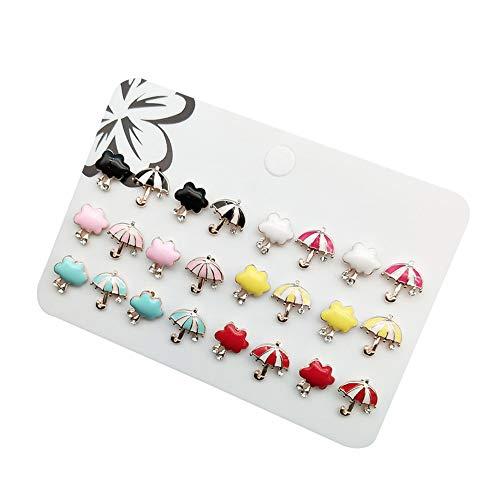 CAOLATOR 12 Paare 2cm Ohrstecker Set Regenschirm Ohrringe Damen Mädchen Frauen Weihnachtsgeschenke Schmuck in Verschiedene Farbe