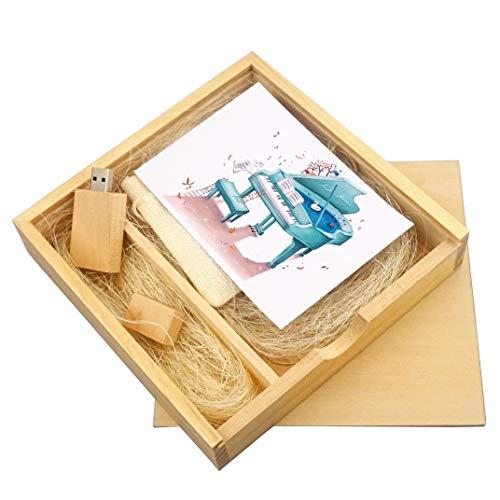 LUCKCRAZY 16GB Chiavetta USB in legno per ragazze ragazzi compleanno regalo di nozze con scatola di legno (16GB, Wooden USB Stick+Wooden Box)