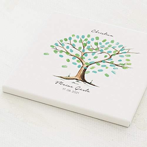 sendmoments Fingerabdruck Leinwand, Tree Kommunion, quadratisch 30x30 cm, personalisiert mit Text,...