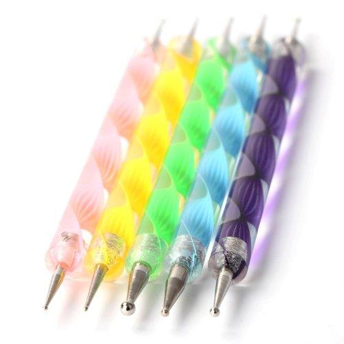 Demarkt Trousse d'accessoires de manucure/pedicure de Nail Art déco d'ongles : set/lot de 5 doubles pointes à décor pour les ongles