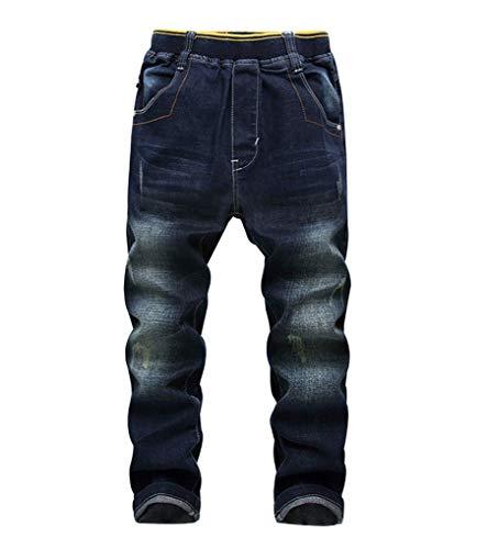 YoungSoul Jungen Jeans Zerrissen Regular Fit Kinder Jeanshosen mit Gummizug, Dunkelblau, 152-158/Größe 150