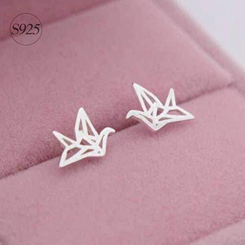 S925 zilveren oorbellen eenvoudige lijn tekenen duizenden papieren kraan vrouwen oorbellen Koreaanse mode oorbellen, S925 zilver paar, 925 zilver, EEH A Oorbel