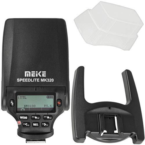 Meike Speedlite MK-320N - Flash TTL Compatible con cámaras Nikon con conexión de Flash estándar de Contacto Central, Incluye difusor