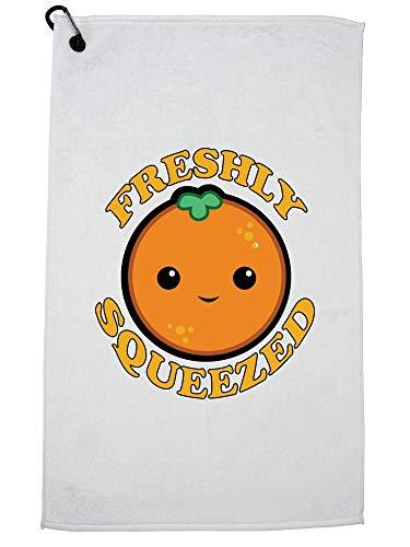 Hollywood-draad vers geperst - sinaasappelsap schattig glimlachend grafische golfhanddoek met karabijnhaak clip