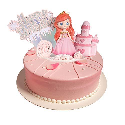 Tortendeko Geburtstag,Kuchendeckel Topper,Tortendeko Prinzessin Schneeflocke 5 Stück Kuchen Topper Glitter Schloss Rosa Silber Happy Birthday Cake Topper Weihnachten Geburtstag Party Dekoration