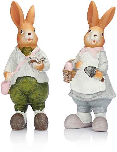 com-four® 2X Coniglietto Pasquale Decorativo per la Decorazione Pasquale - Figure Decorative per la Pasqua - Coniglietto Decorativo [la Selezione Varia!] (2 Pezzi - Coniglietto Pasquale - Polyresin)