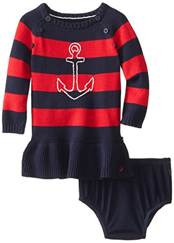 Nautica Baby Girls' Anchor Sweater Dress, Red, 12 Months