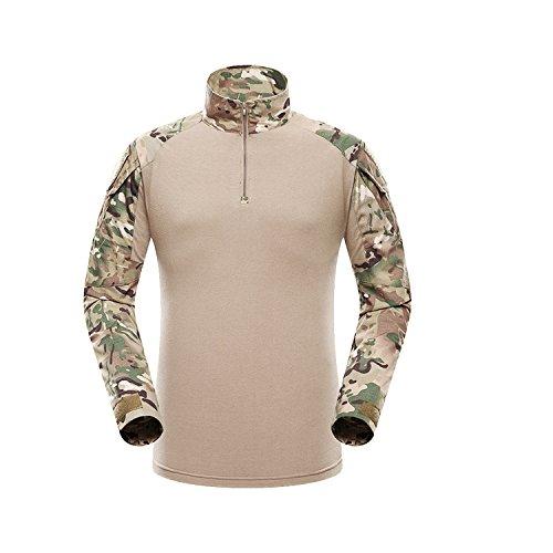 QMFIVE Mens Shirt, Hommes Camouflage Camo Manches Longues Combat T-Shirt pour Tactique Airsoft Paintball